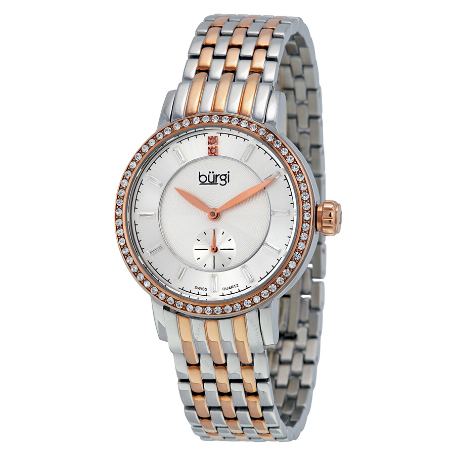 Burgi two tone case rose gold tone dial crystal ladies watch bur099ttr burgi watches jomashop for Crystal ladies watch