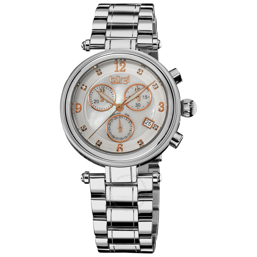 burgi white mother of pearl dial ladies watch bur080ss burgi watches jomashop