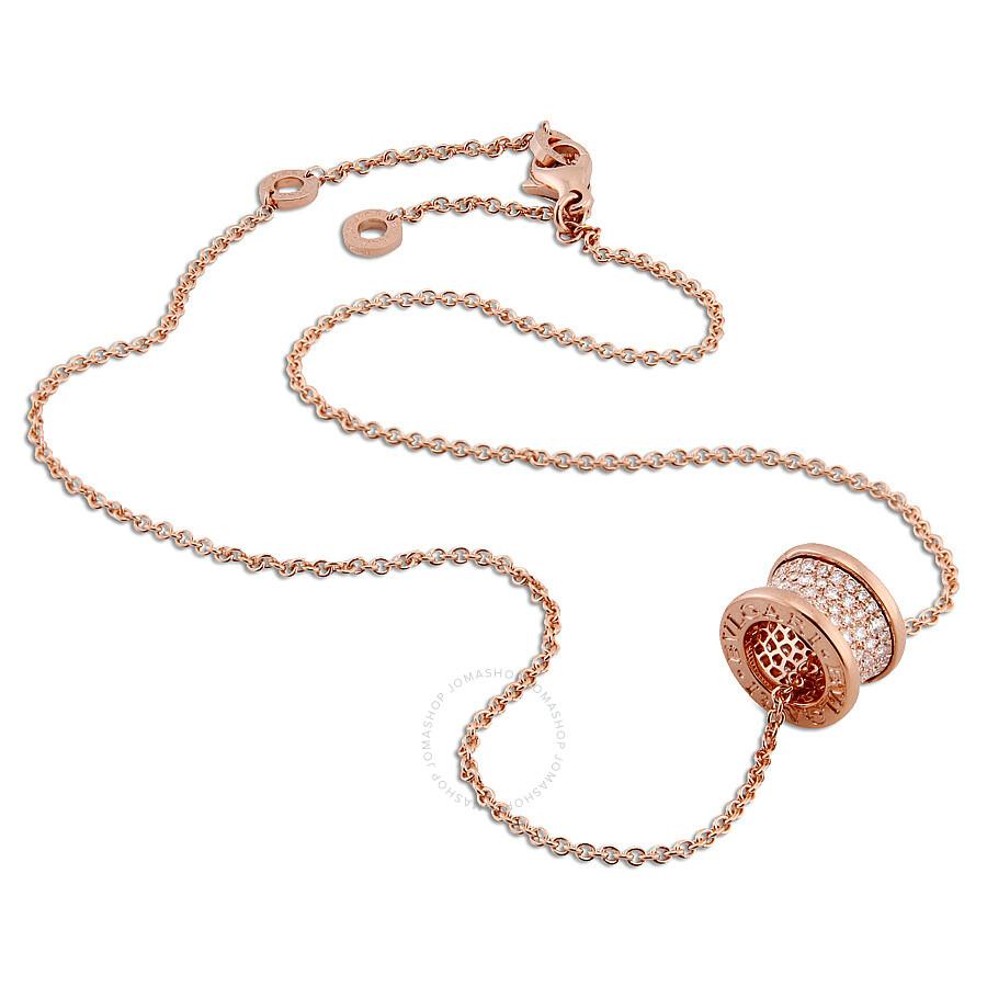 Bvlgari B.Zero1 18K Pink Gold Diamond Necklace 348035