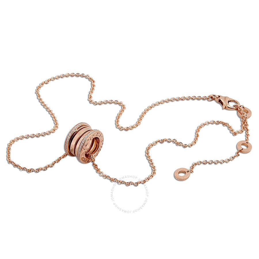 Bvlgari B.Zero1 18K Pink Gold Diamond Necklace 350052