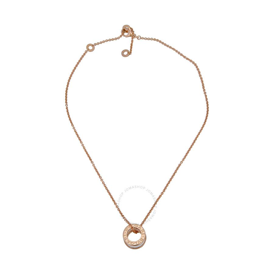 Bvlgari bzero1 18kt pink gold and ceramic pendant with chain 346082 aloadofball Images