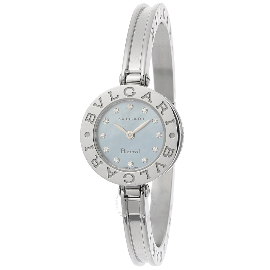 Bvlgari B.zero1 Blue Mother of Pearl Dial Stainless Steel Bangle Bracelet La..