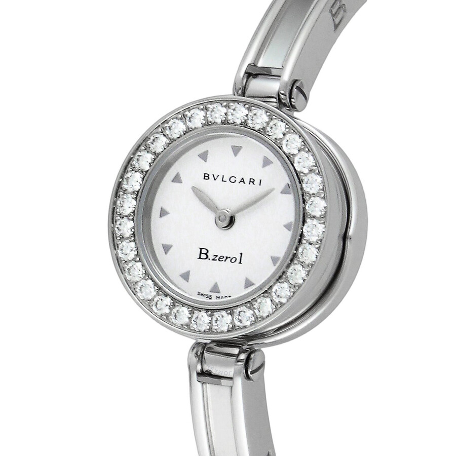 Bvlgari B.zero1 White Dial Stainless Steel Bangle Bracelet Ladies Watch 101272
