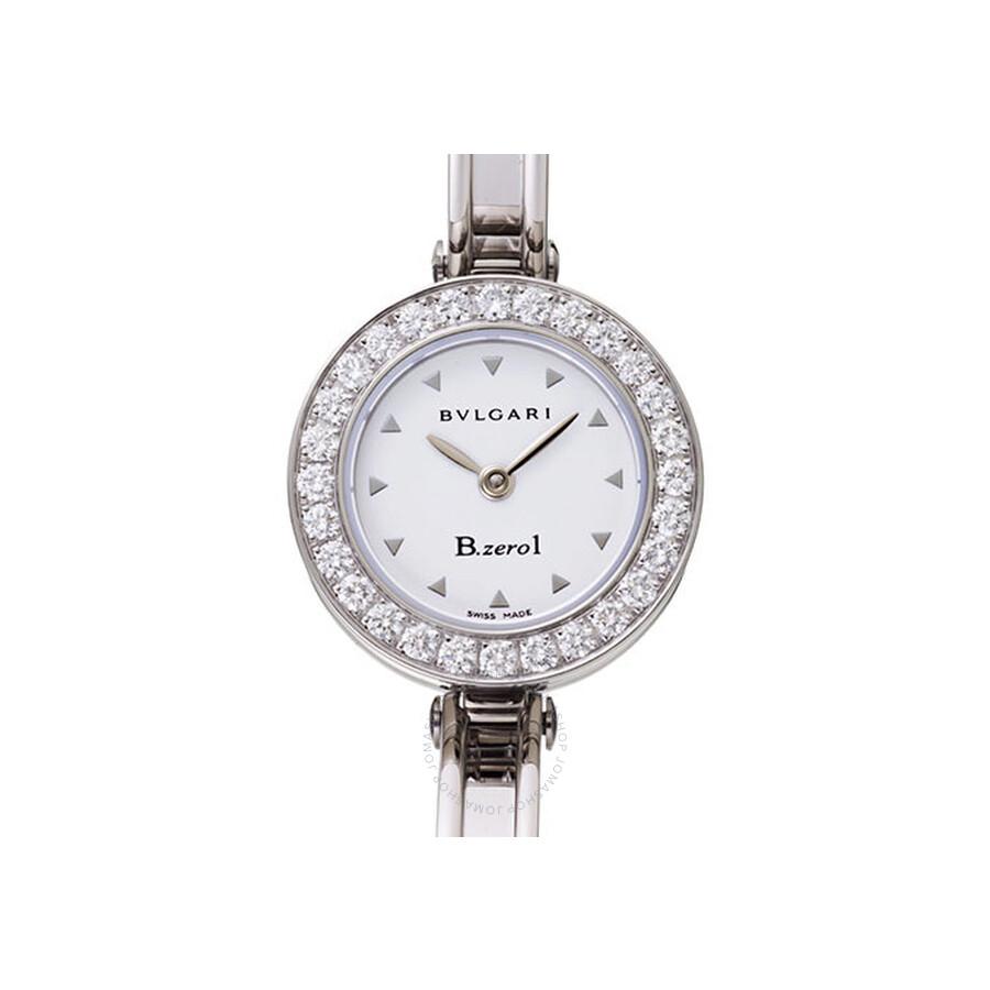 Bvlgari B.zero1 White Dial Stainless Steel Bangle Bracelet Ladies Watch 101273