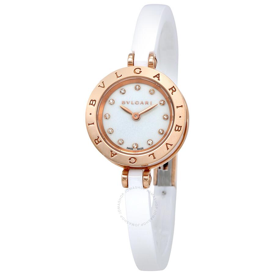 Bvlgari B.zero1 White Lacquered Dial White Ceramic Bangle Bracelet Ladies Wa..