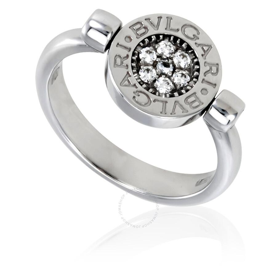 bvlgari bvlgari 18k white gold diamond pave onyx ring size 825 bvlgari