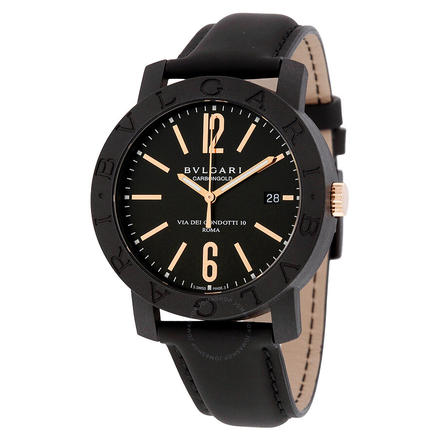 Bvlgari bvlgari automatic black dial black leather men 39 s watch 102248 bvlgari bvlgari for Bvlgari watches