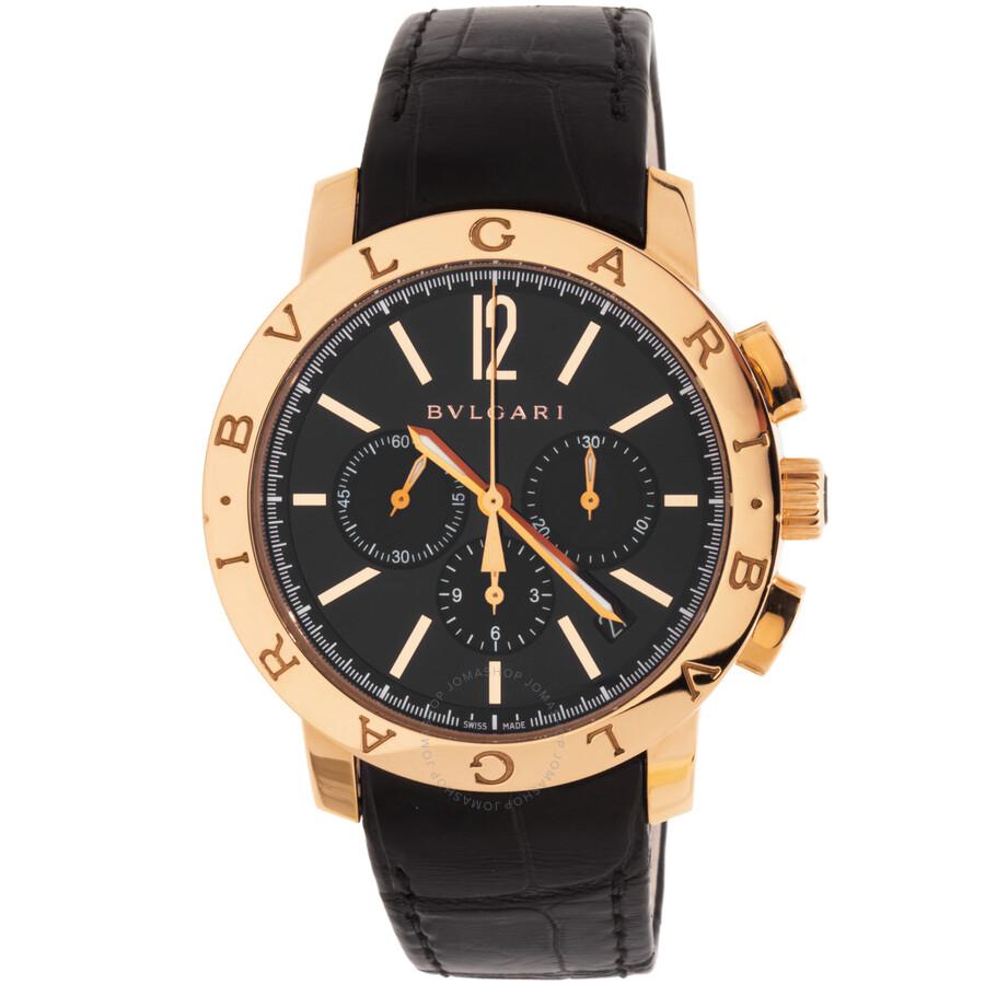 Bvlgari Bvlgari Black Dial Black Alligator Leather Strap Chronograph Mens Watch 102044