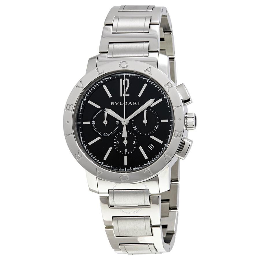 Bvlgari Bvlgari Black Dial Stainless Steel Chronograph Mens Watch 102045