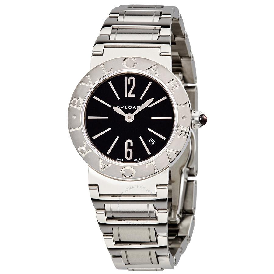 Bvlgari BVLGARI Black Lacquered Dial Stainless Steel Quartz Ladies Watch 102073