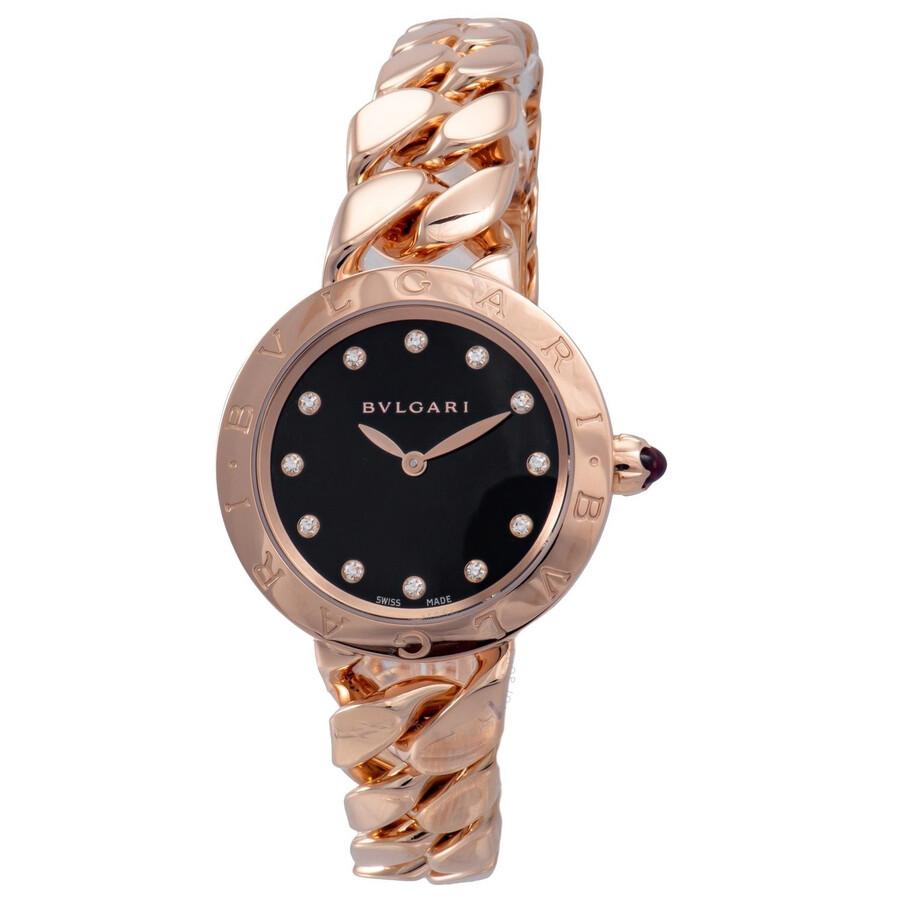 Bvlgari BVLGARI Black Lacquered Diamond Dial 18k Pink Gold Gourmette Bracelet Ladies Watch 102036