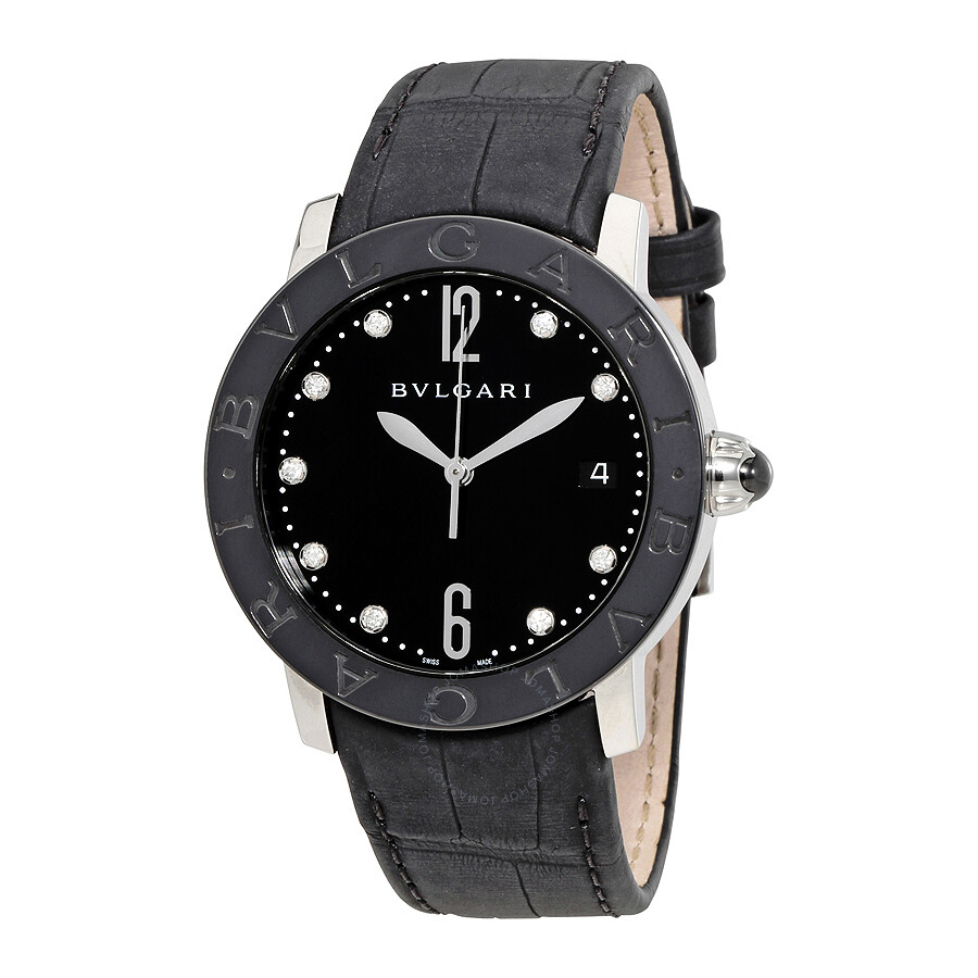Bvlgari BVLGARI Black Lacquered Diamond Dial Automatic Ladies Watch 102054