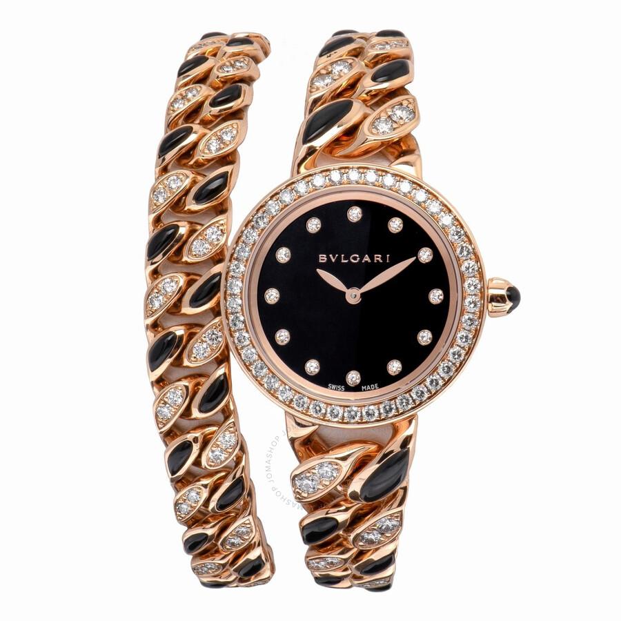 Bvlgari BVLGARI Black Lacquered Diamond Dial Quartz Ladies Watch 102169