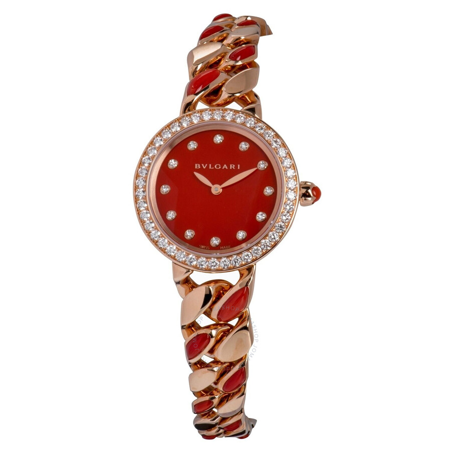 Bvlgari BVLGARI Carnelian Stone Diamond Dial Quartz Ladies Watch 102170