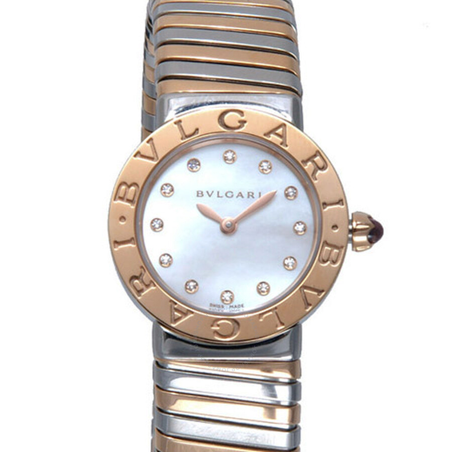 Bvlgari Bvlgari Mother of Pearl Diamond Dial Steel and 18K Pink Gold Ladies Watch 102222