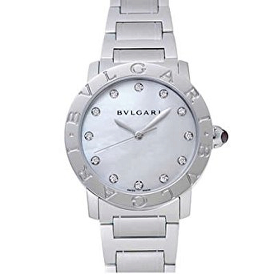 Bvlgari BVLGARI Pink Mother of Pearl Diamond Dial Stainless Steel Ladies Watch 102201