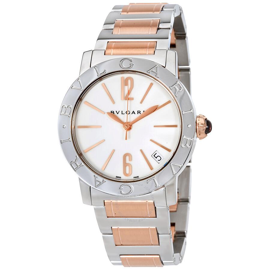Bvlgari BVLGARI White Lacquered Dial Stainless Steel & 18k Pink Gold Ladies Watch 102265