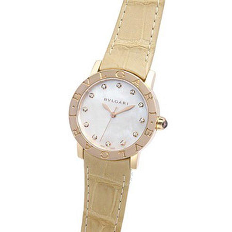 Bvlgari BVLGARI White Mother of Pearl Dial Beige Alligator Leather Strap 33mm Ladies Watch 101890