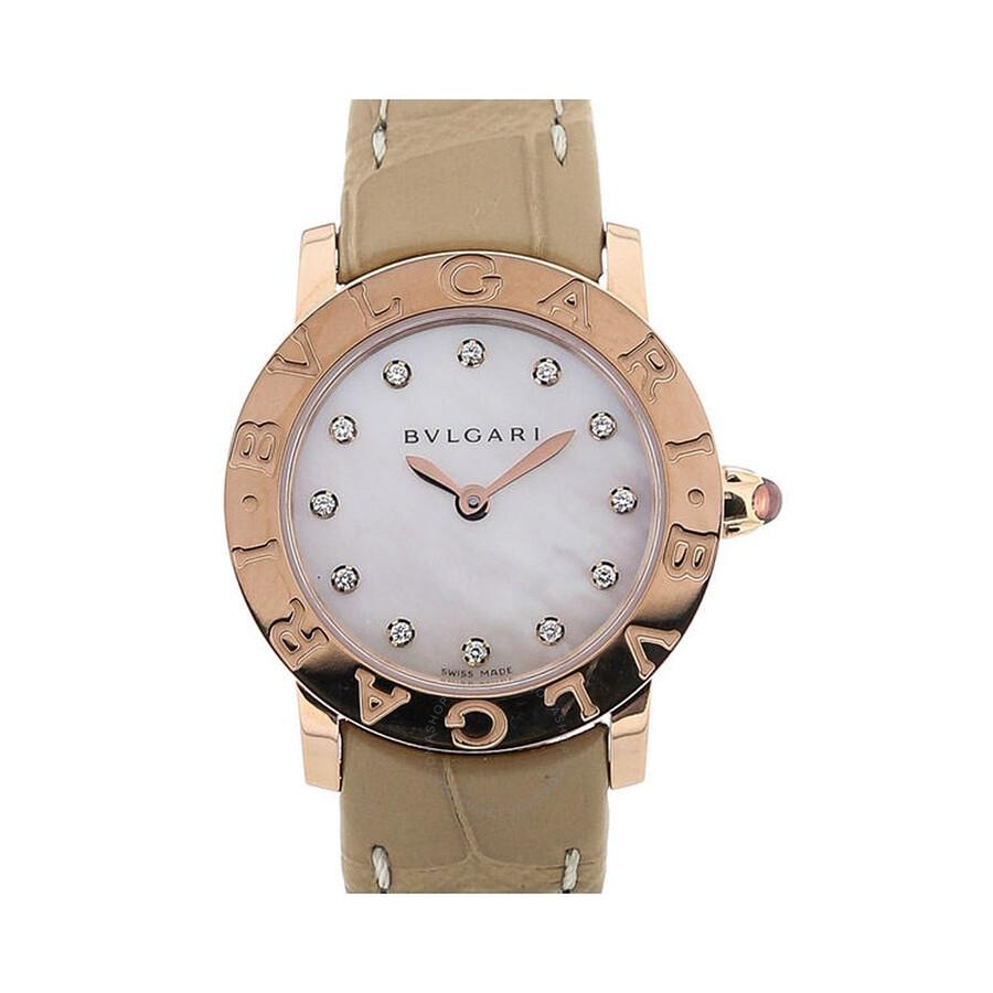 Bvlgari BVLGARI White Mother of Pearl Diamond Dial Beige Alligator Leather Strap Ladies Watch 101884