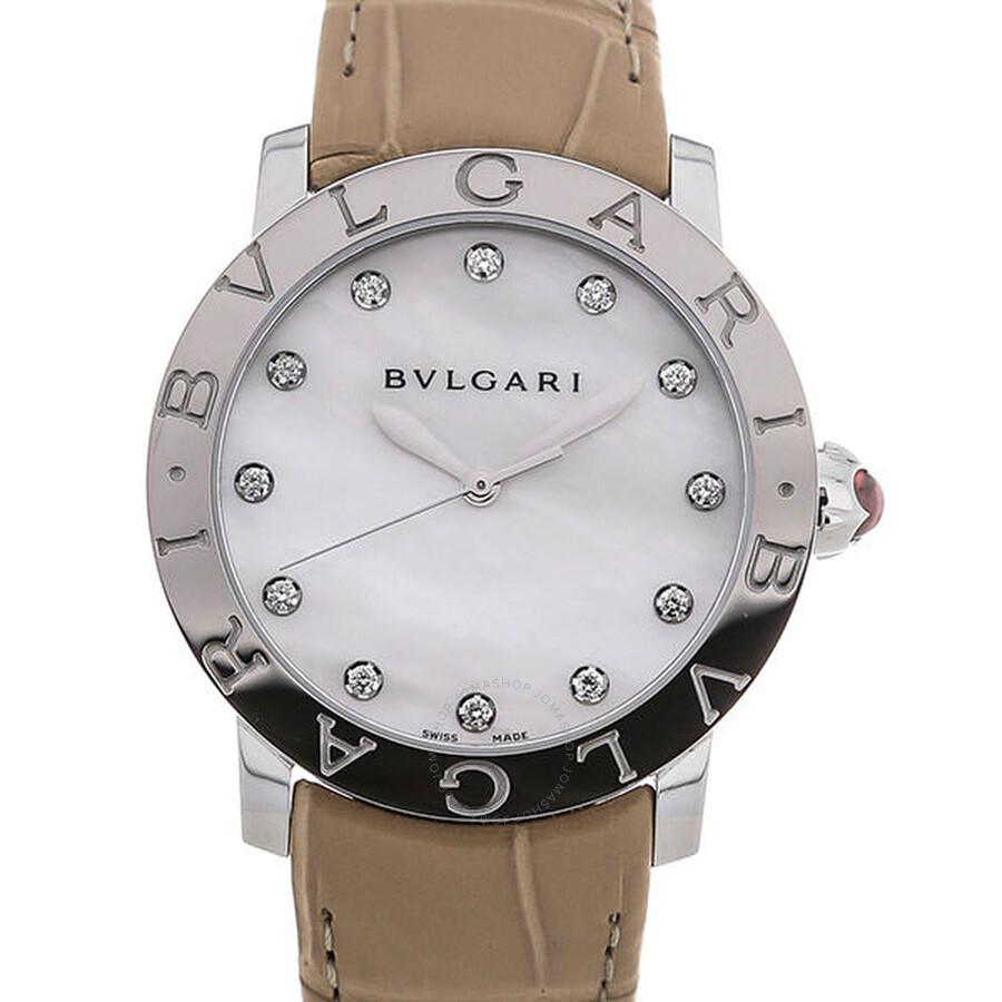 BVLGARI BVLGARI White Mother of Pearl Diamond Dial Beige Alligator Leather Strap Ladies Watch 101894
