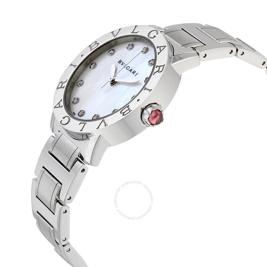 Bvlgari BVLGARI White Mother of Pearl Diamond Dial Stainless Steel 32mm Ladies Watch 101888
