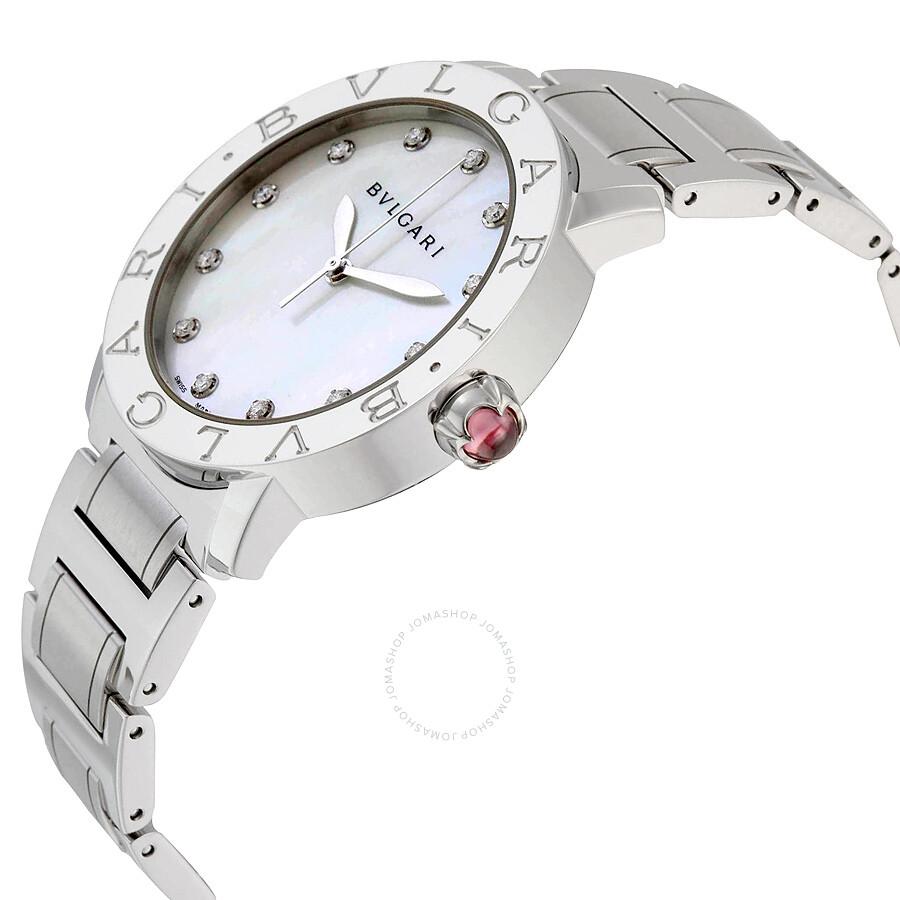 Bvlgari BVLGARI White Mother of Pearl Diamond Dial Stainless Steel 37mm Ladies Watch 101975