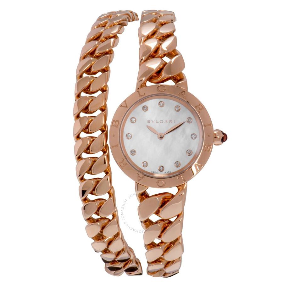Bvlgari BVLGARI White Mother-of-Pearl Dial 18k Pink Gold Gourmette Bracelet Ladies Watch 102052