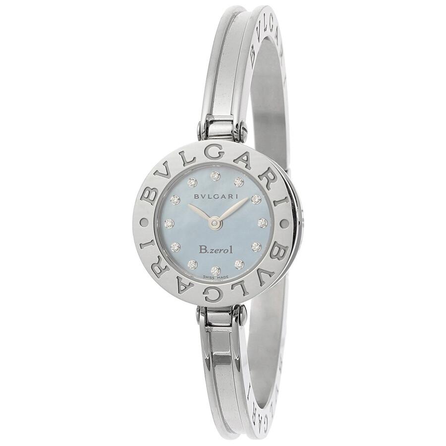 Bvlgari B.zero1 Mother of Pearl Dial Stainless Steel Bangle Bracelet Ladies Watch 101079