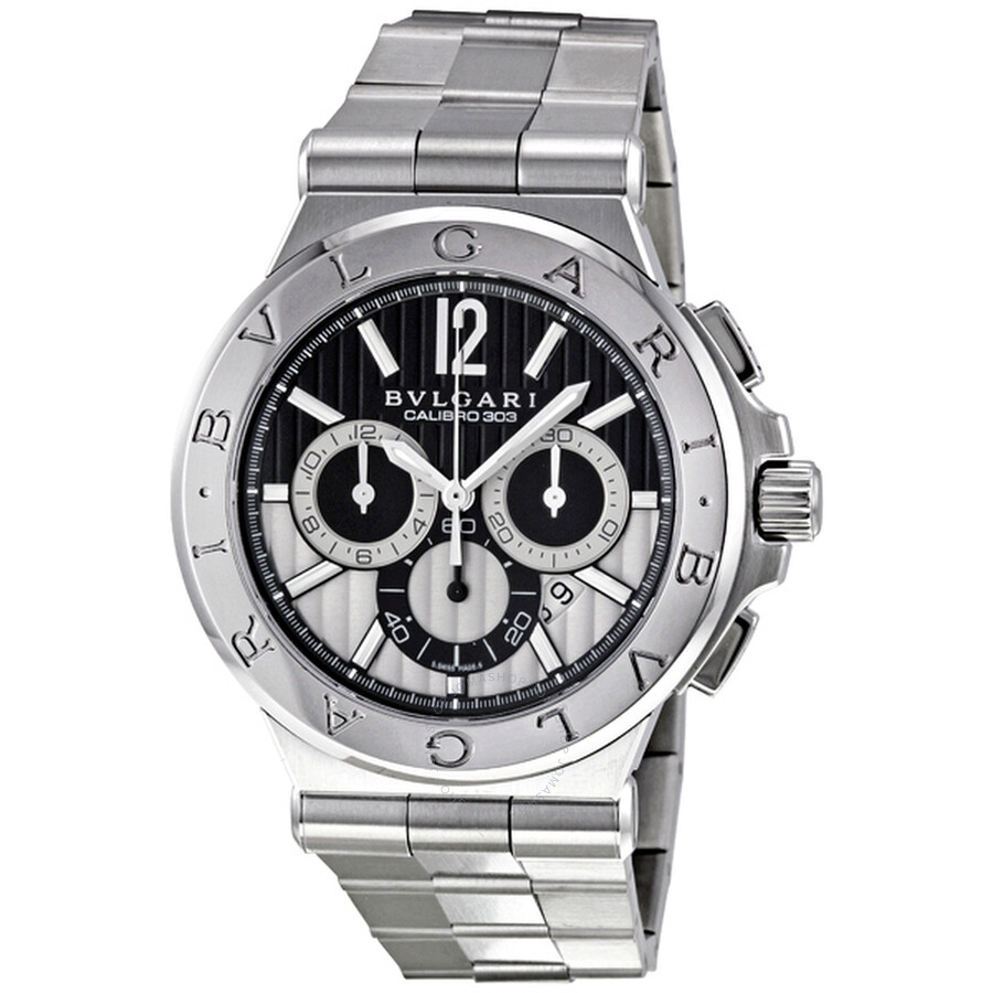 Bvlgari Diagono Black Chronograph Stainless Steel Mens Watch DG42BSSDCH