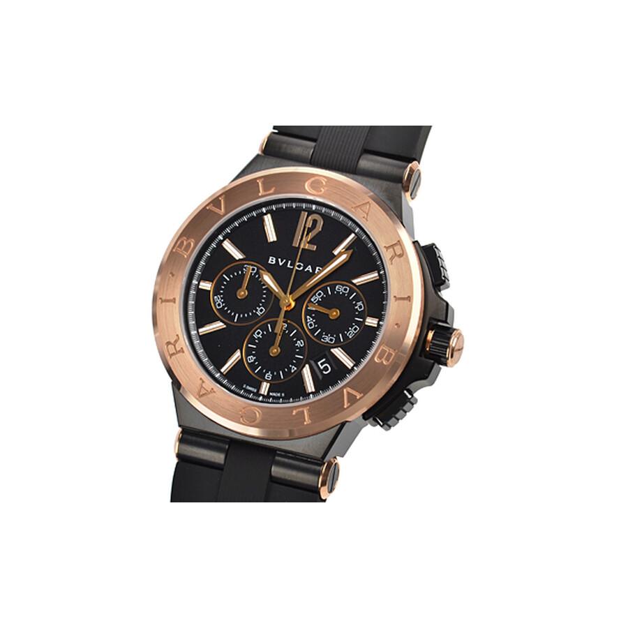 Bvlgari Diagono Black Dial 18kt Pink Gold Bezel Mens Watch 102172