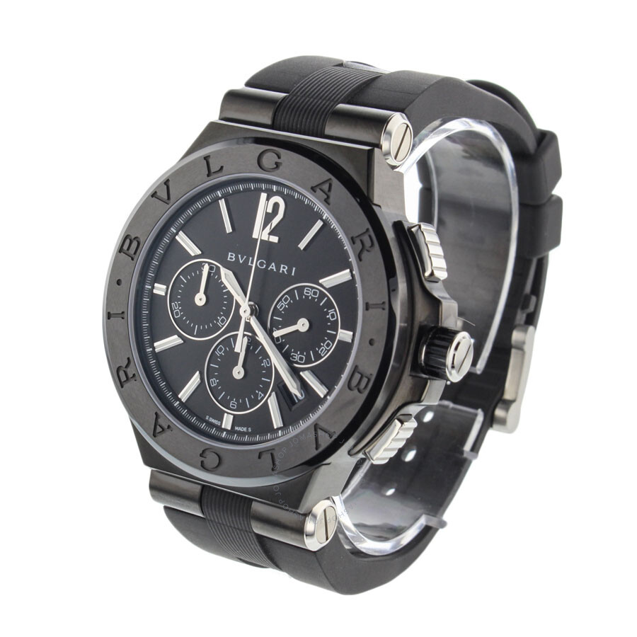 Bvlgari Diagono Black Dial Automatic Chronograph Mens Watch 102122