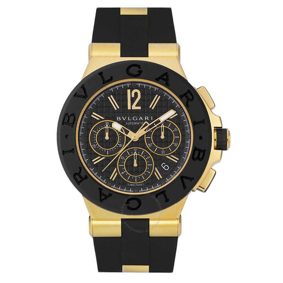 bvlgari watches bling lass rings necklaces jewelry and watches bvlgari diagono black dial chronograph 18kt yellow gold rubber mens watch dg42bgvdch