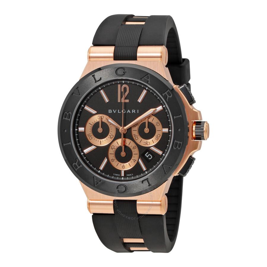 Bvlgari Diagono Black Dial Chronograph Mens Watch 101987