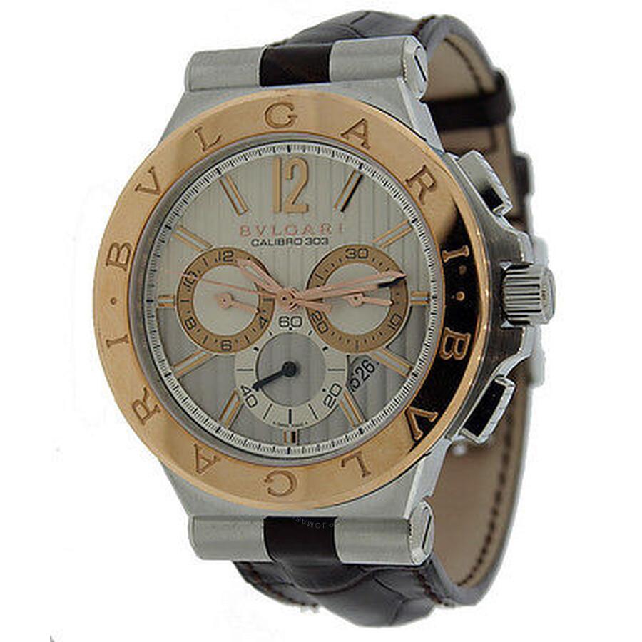 Bvlgari Diagono Silvered Dial Chronograph Mens Watch 101879