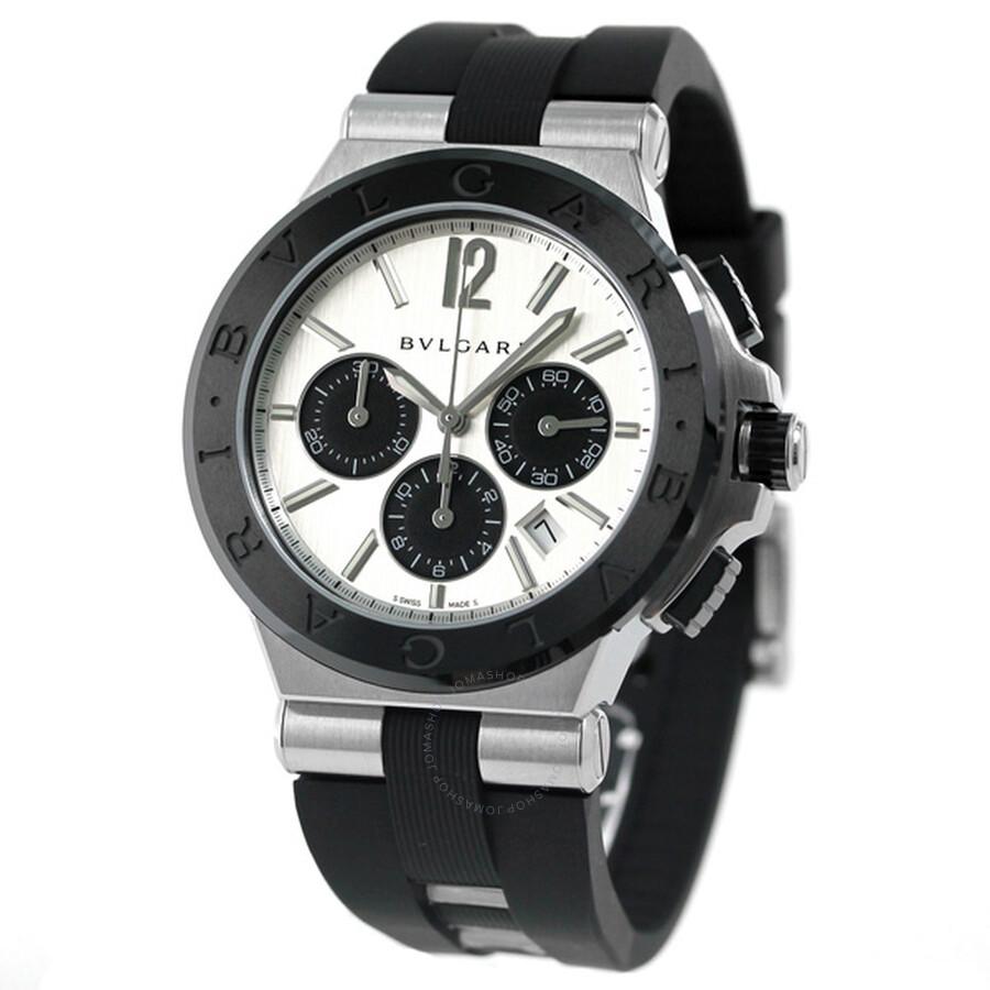 Bvlgari Diagono Silvered Dial Chronograph Mens Watch 102253