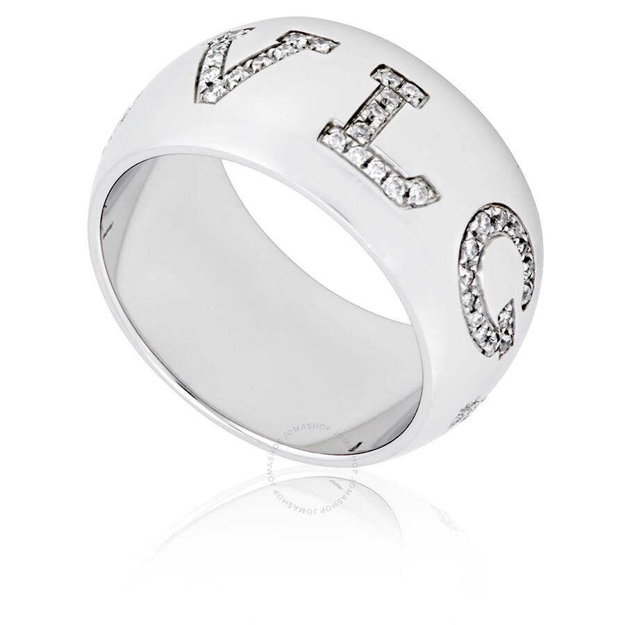 bvlgari bvlgari monologo 18k white gold band ring size 7