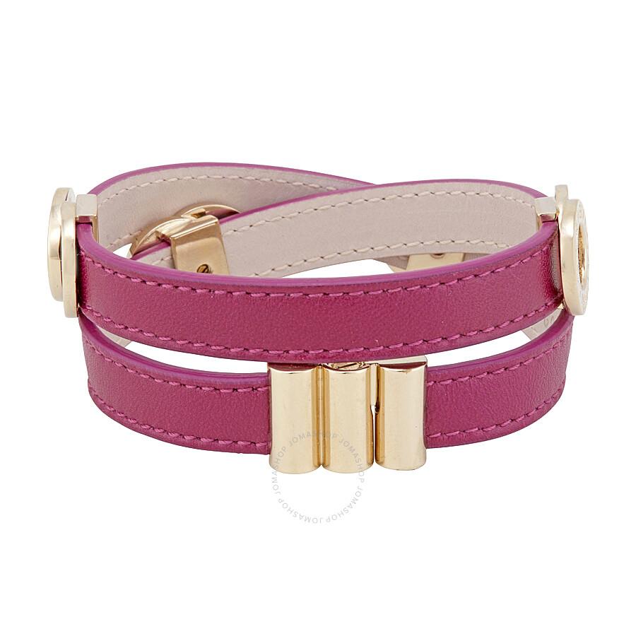 Bvlgari Mulberry Fuchsia Double Coil Leather Bracelet - Large ...