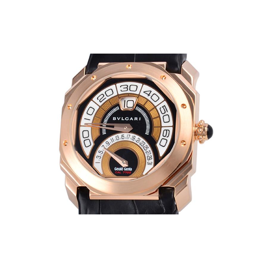 Bvlgari Octo Retrogradi Black Lacquered Dial 18kt Pink Gold Mens Watch 101832