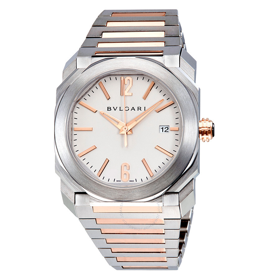 Bvlgari Octo Solotempo Silvered Dial Stainless Steel and 18kt Pink Gold Mens Watch 102118