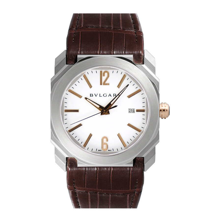 Bvlgari Octo Solotempo White Dial Brown Alligator Leather Mens Watch 102207