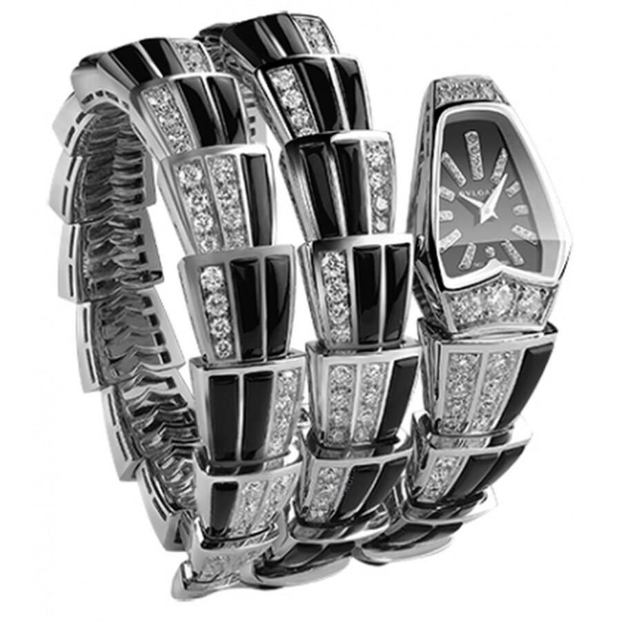 Bvlgari Serpenti Jewellery Black Sapphire Crystal Dial Quartz Ladies Watch 102112