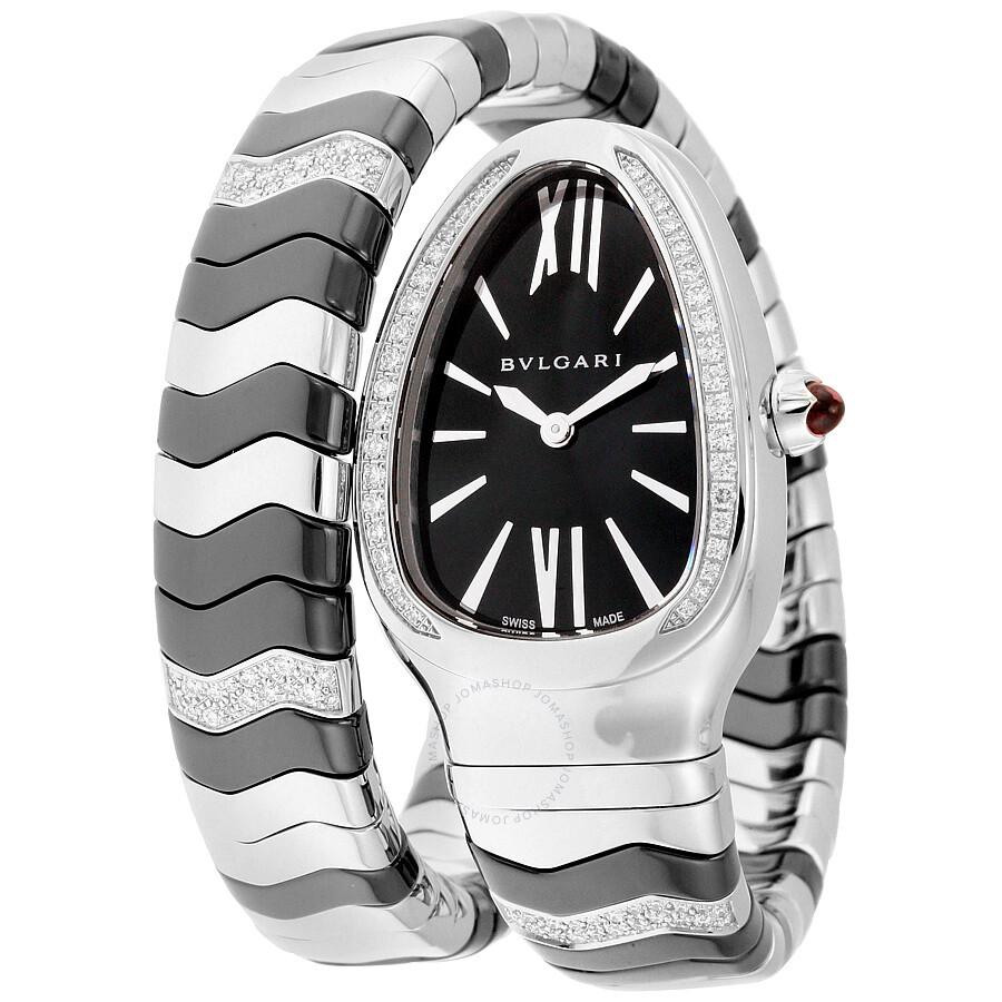 Bvlgari Serpenti Spiga Black Lacquered Dial Quartz Ladies Watch 102129