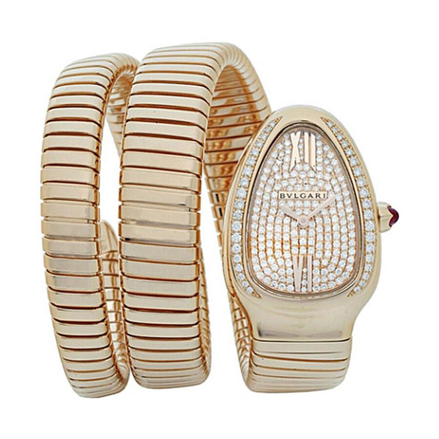 Bvlgari Serpenti Tubogas 18k Pink Gold Diamond Pave Dial Quartz Ladies Watch 101956