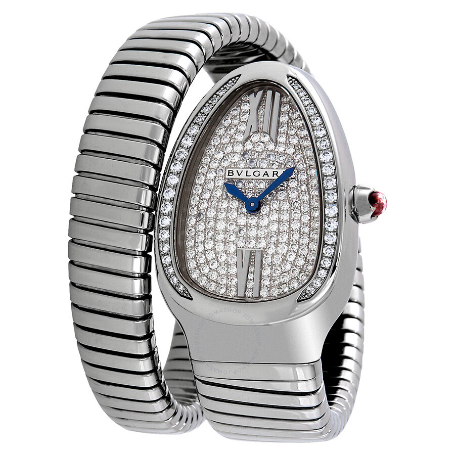 Bvlgari Serpenti Tubogas 18k White Gold Diamond Pave Dial Quartz Ladies Watch 102005