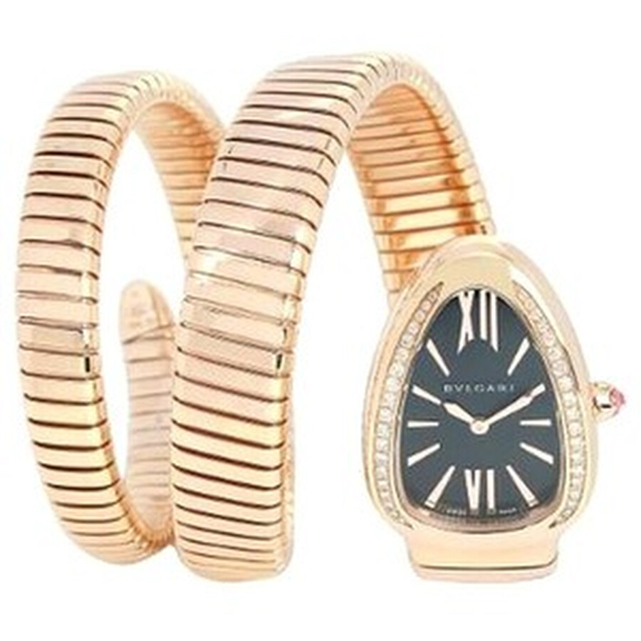 Bvlgari Serpenti Tubogas Black Opaline Dial 18k Pink Gold Quartz Ladies Watch 101814