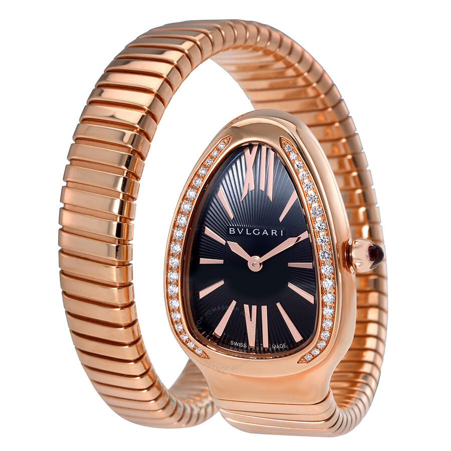 Bvlgari Serpenti Tubogas Black Opaline Dial 18k Pink Gold Quartz Ladies Watch 101815