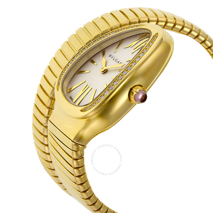 Bvlgari Serpenti Tubogas Silver Opaline Dial 18kt Yellow Gold Quartz Ladies Watch 101924