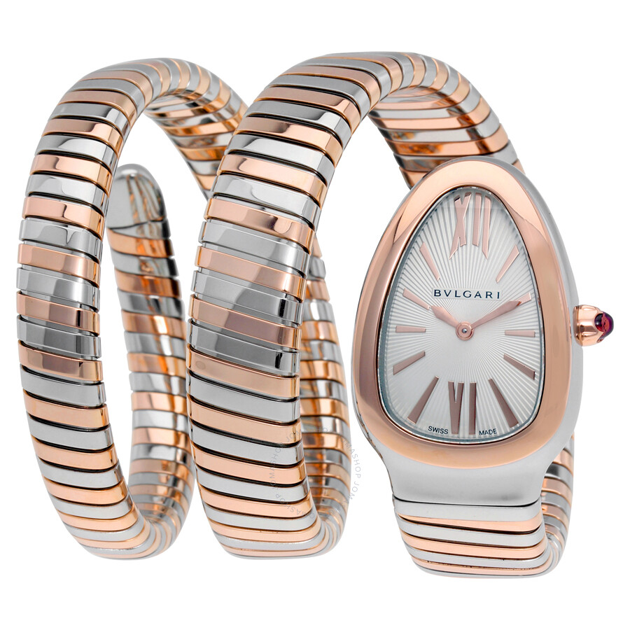 Bvlgari Serpenti Tubogas Silver Opaline Dial Quartz Ladies Watch 102236