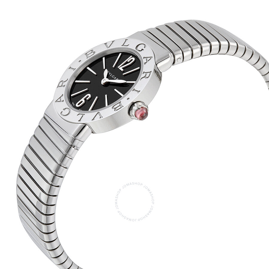Bvlgari Tubogas Black Dial Stainless Steel Ladies Watch 102224