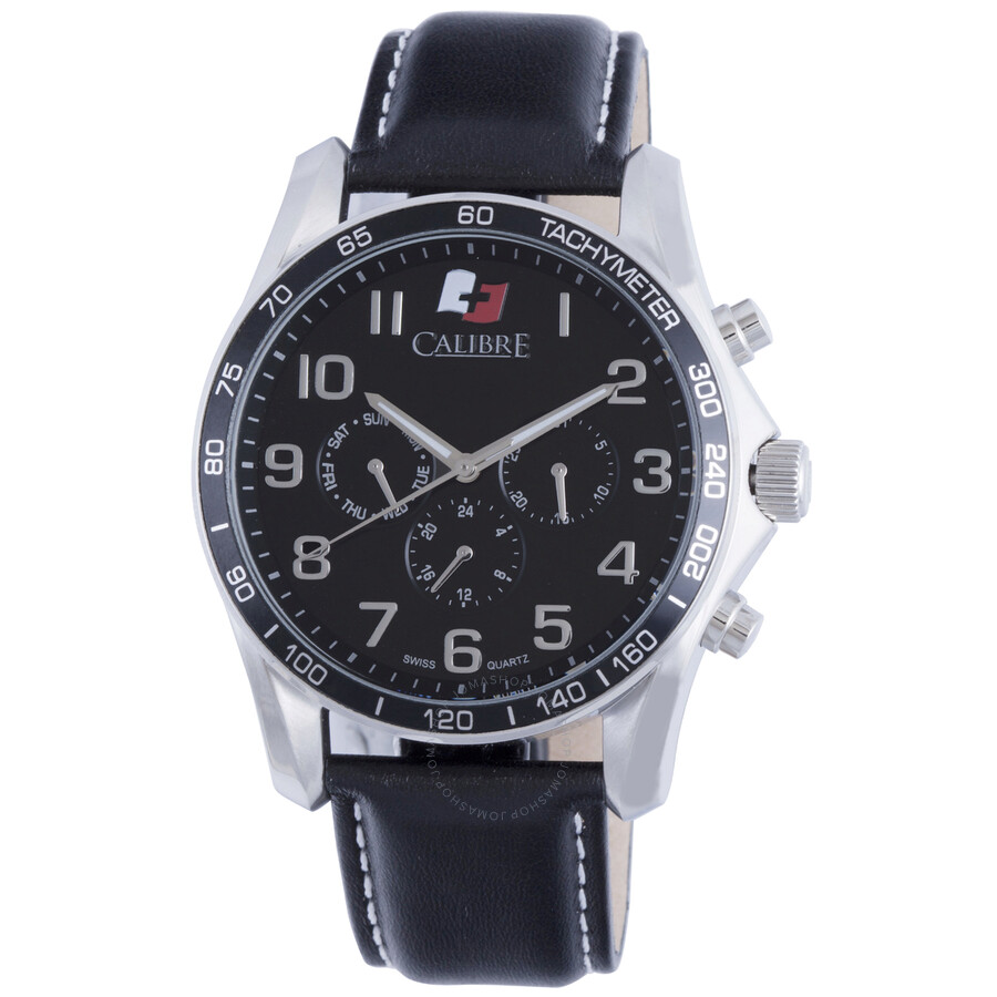 Calibre Buffalo Black Dial Black Leather Mens Watch SC-4B1-04-007